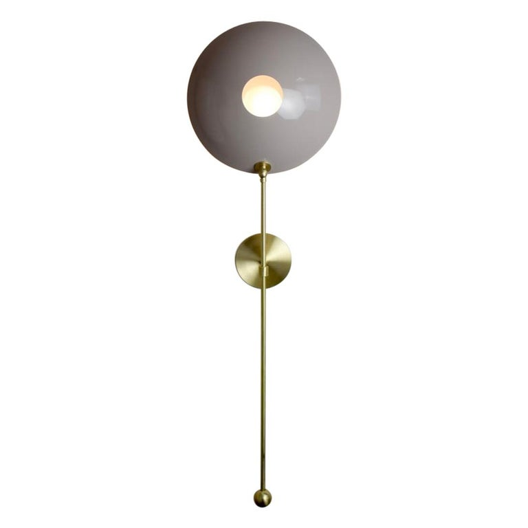 "Large ""POP"" Wall Sconce in Brass and Mauve Enamel by Blueprint Lighting For Sale"