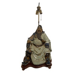 Large Porcelain of Buddha Figure Adapted as Lamp and Wood Base, 20th Century
