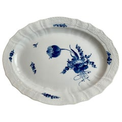Large Porcelain Platter by Royal Copenhagen in the Blue Flower Pattern