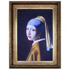 Large Portrait after Vermeer Oil on Canvas Set in Gilt Frame