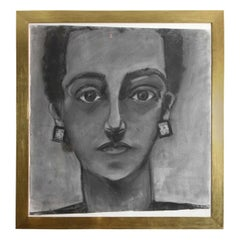 Large Portrait of a Lady Painting, circa 1960, Charcoal, with Gold Frame
