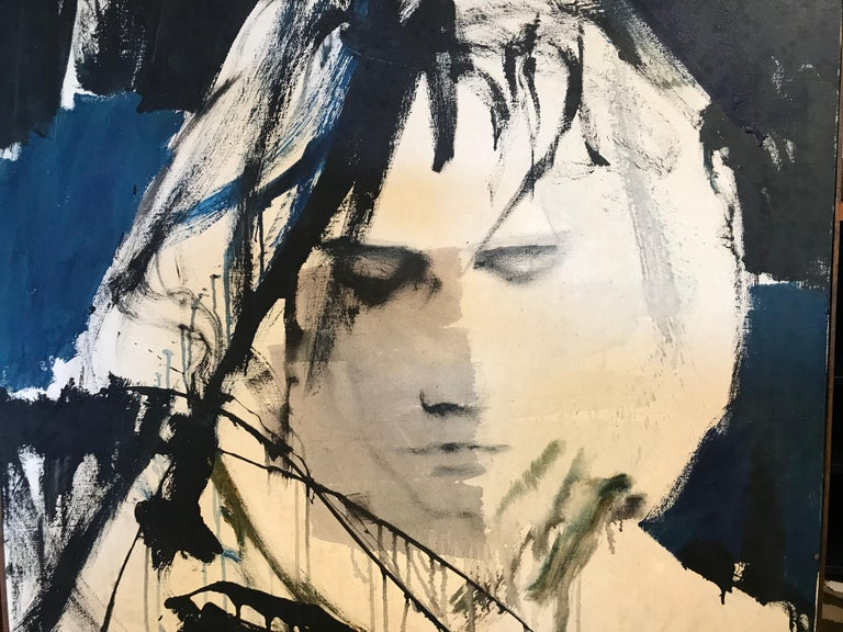 A large portrait of Jim Morrison. It is signed by Gino Hollander and dated 1975. Gino Hollander (1924 –2015) is a very important American painter. He began painting in New York City during the abstract expressionist movement after having been a