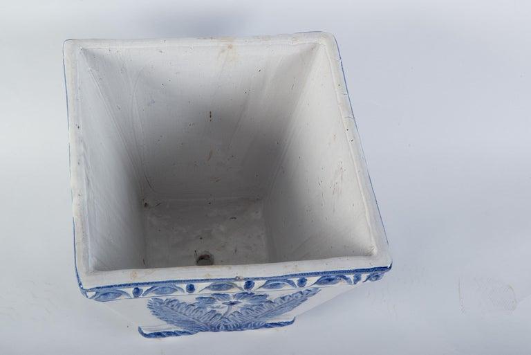 Late 20th Century Large Portuguese Blue & White Pottery Jardinière For Sale