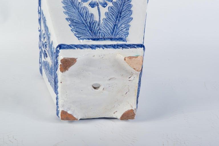 Terracotta Large Portuguese Blue & White Pottery Jardinière For Sale