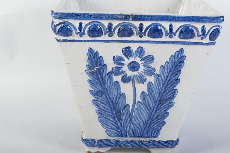 Large Portuguese Blue & White Pottery Jardinière For Sale 1