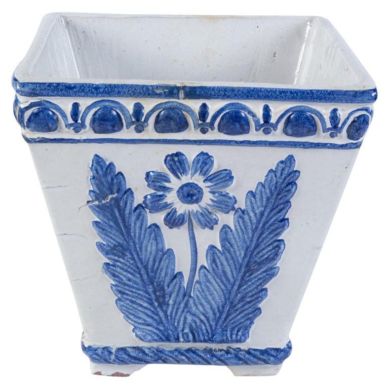 Large Portuguese Blue & White Pottery Jardinière For Sale