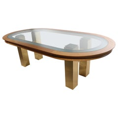 Large Post Modern Oval Dining Table after Evans