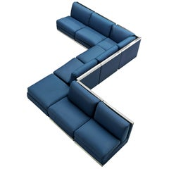 Large Postmodern Sectional Sofa in Blue Upholstery and Aluminum