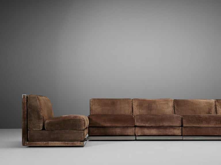 Large Postmodern Sectional Sofa in Suede and Steel For Sale 5