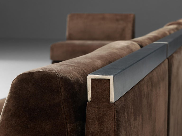 Large Postmodern Sectional Sofa in Suede and Steel For Sale 6