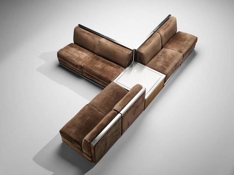 Sectional sofa, brown suede upholstery, stainless steel, Italy, 1970s  Large Postmodern modular sofa, consisting of 6 straight seating elements and a side table. A perfect piece to place in a large space as it can be positioned as desired. As shown,