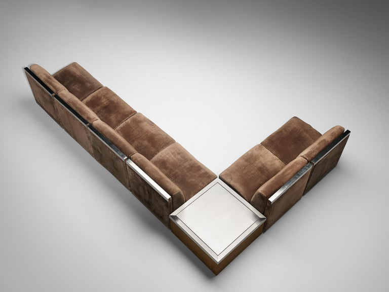 Late 20th Century Large Postmodern Sectional Sofa in Suede and Steel For Sale