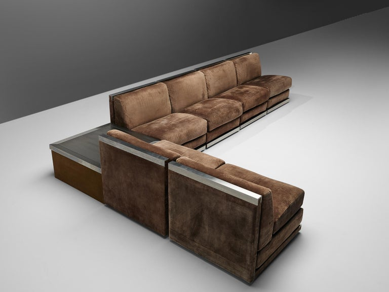 Large Postmodern Sectional Sofa in Suede and Steel For Sale 1