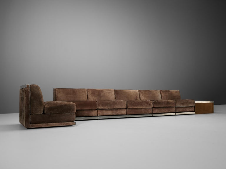 Large Postmodern Sectional Sofa in Suede and Steel For Sale 2