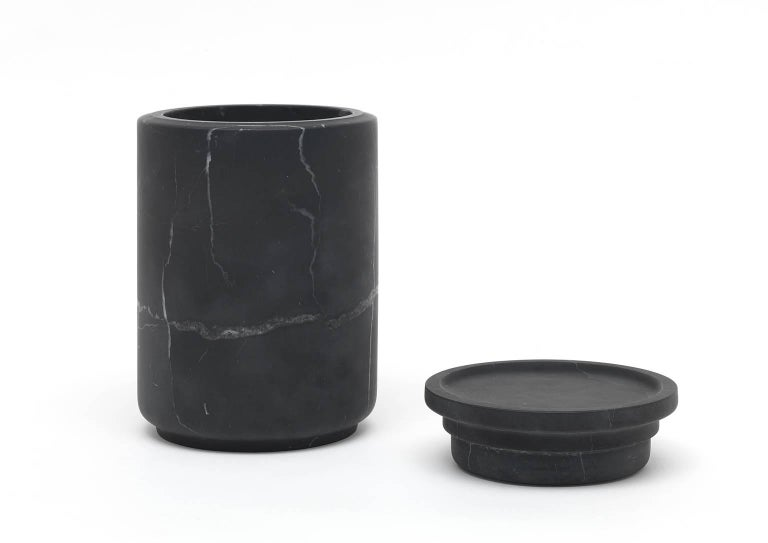 Modern Large Pot in Black Marquinia Marble by Ivan Colominas, Italy For Sale