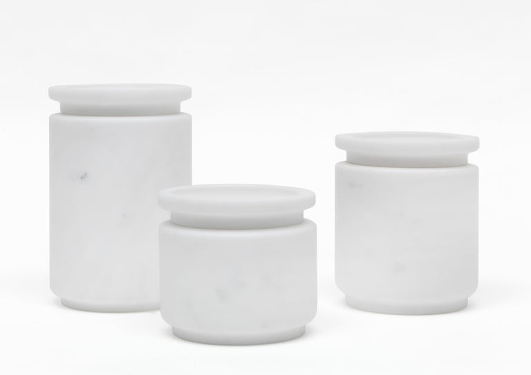 Contemporary Large Pot in White Michelangelo Marble, by Ivan Colominas, Italy. In Stock For Sale