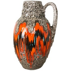 Large Pottery Fat Lava Multi-Color 414-38 Floor Vase Made by Scheurich, 1970s