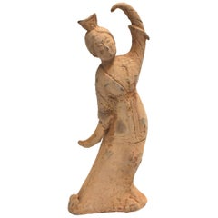 Large Pottery Figure Dancer with Crown, Chinese Han Style