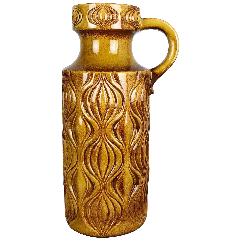 """Large Pottery Super Fat Lava Multi-Color 485-45 """"Onion"""" Vase by Scheurich, 1970s"""