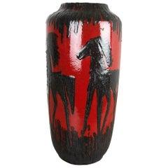 """Large Pottery Super Fat Lava Multi-Color 517-45 """"HORSE"""" Vase by Scheurich, 1970s"""