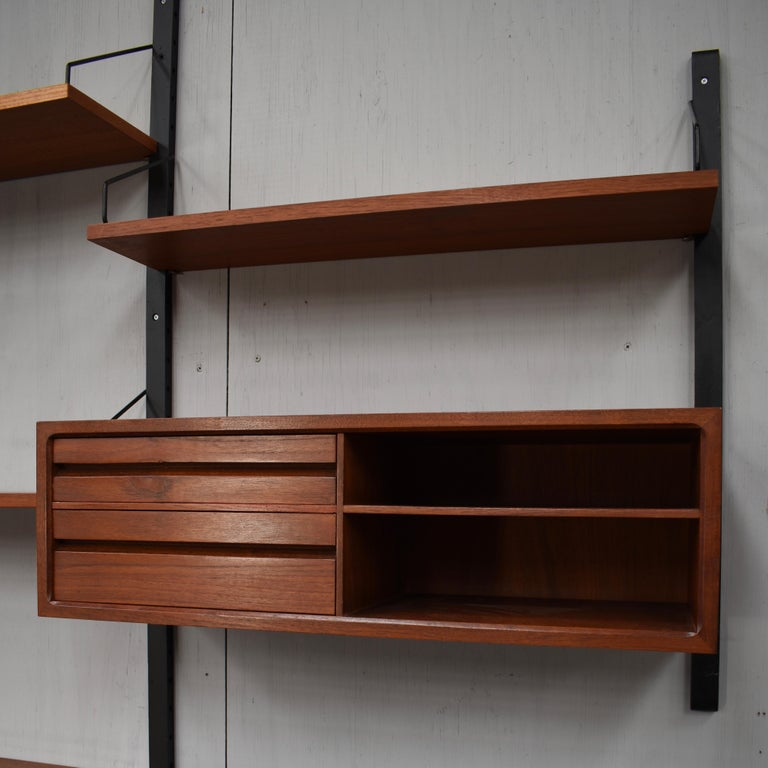 Large Poul Cadovius Royal Wall Unit in Teak, Denmark, 1950s For Sale 9