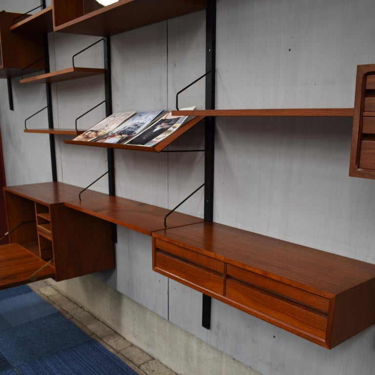 Large Poul Cadovius Royal Wall Unit in Teak, Denmark, 1950s For Sale 10