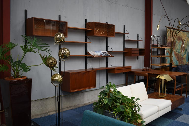 Metal Large Poul Cadovius Royal Wall Unit in Teak, Denmark, 1950s For Sale