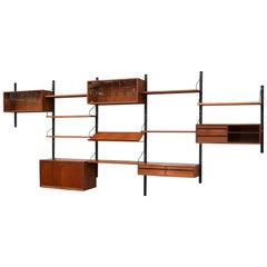 Large Poul Cadovius Royal Wall Unit in Teak, Denmark, 1950s