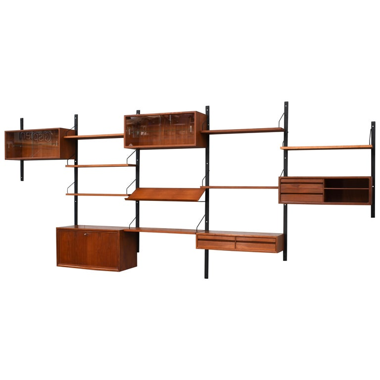 Large Poul Cadovius Royal Wall Unit in Teak, Denmark, 1950s For Sale