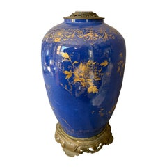 Large Powder Blue and Gilt Kangxi Lamp