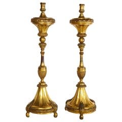 Large Pair of South American/Mexican Dore Bronze 18th Century Candleholders