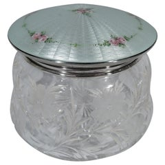 Large and Pretty Antique Sterling Silver, Crystal and Enamel Vanity Jar