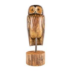 Large Primitive American Folk Art Painted Wood Owl Sculpture