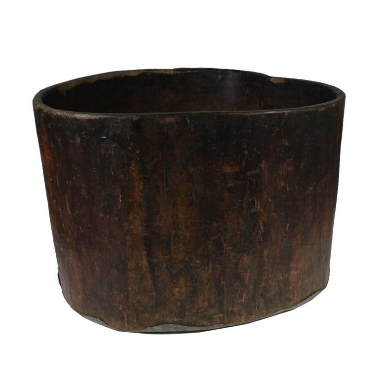 Large Primitive Hand-Hollowed Wood Storage Vessel, 19th Century