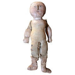 Large Primitive Oil-Cloth Hand-Stitched Doll, circa 1900