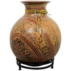 Large Primitive Terracotta Poly-Chrome Ceramic Vessel Vase Floor Sculpture
