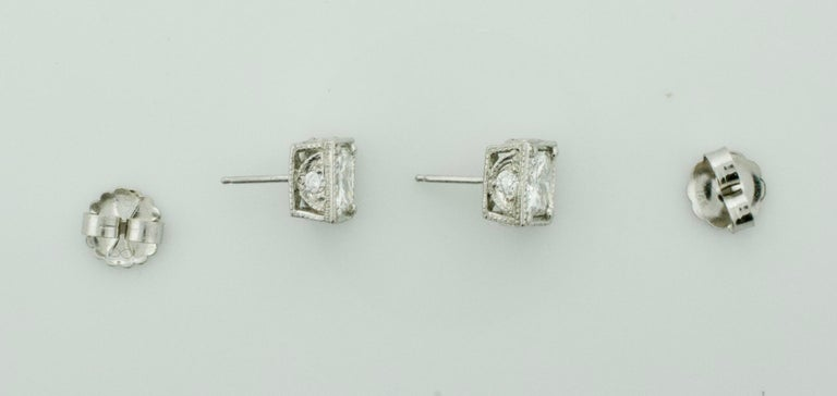 1c00cd113986f Large Princess Cut Diamond Stud Earrings in Platinum 5.10 Carat H-I SI1 GIA