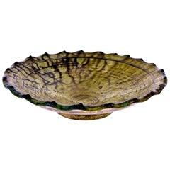 Large Provincial Glazed Terracotta Bowl or Serving Platter, Spain, 19th Century