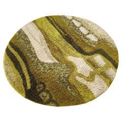 Large Psychedelic Green High Pile Rya Rug Carpet Desso, Netherlands, 1970s