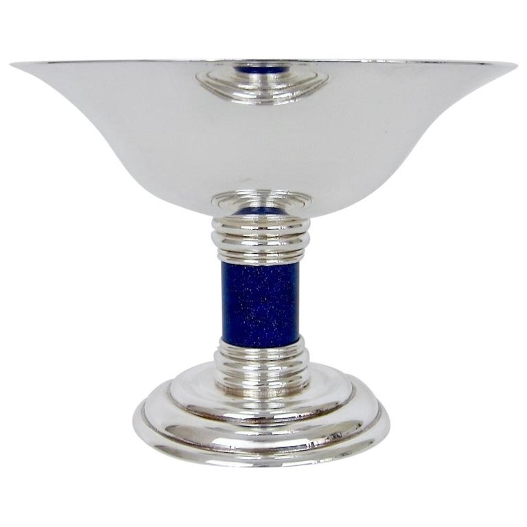 Serving Stem Bowl Silver Plated Glass Liner Octagonal Tazza Art Deco Vintage English 1930s