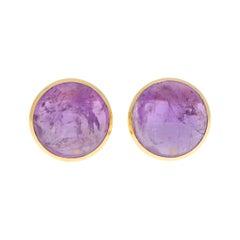 Large Purple Amethyst Dome Earrings Set in 18k Yellow Gold