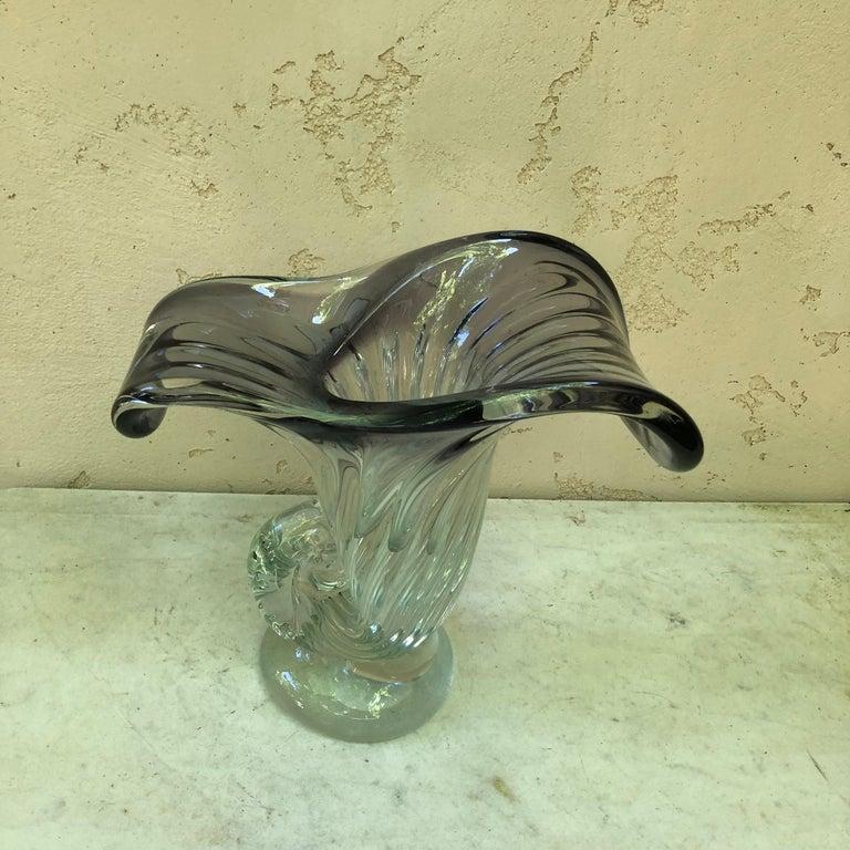 Italian Large Purple Murano Glass Vase, circa 1960 For Sale