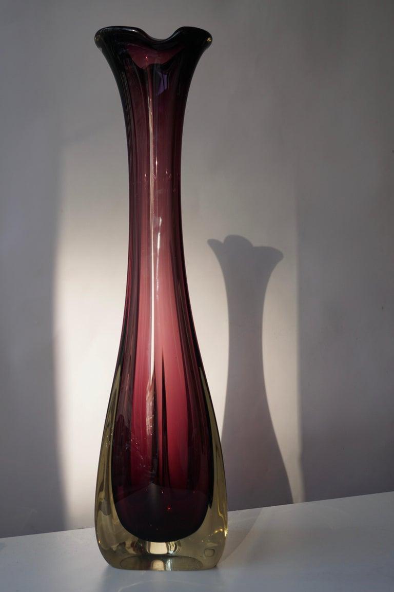 Hollywood Regency Large Purple Murano Glass Vase For Sale