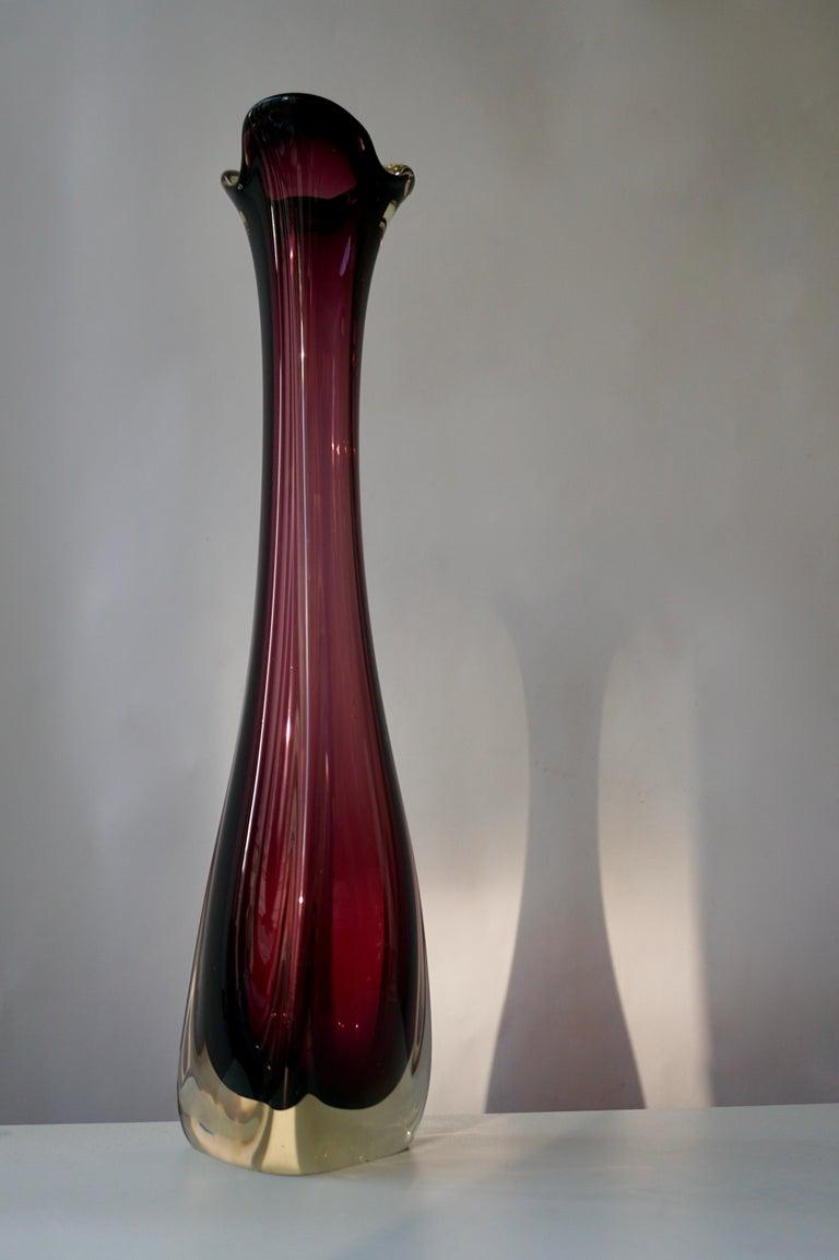 Italian Large Purple Murano Glass Vase For Sale