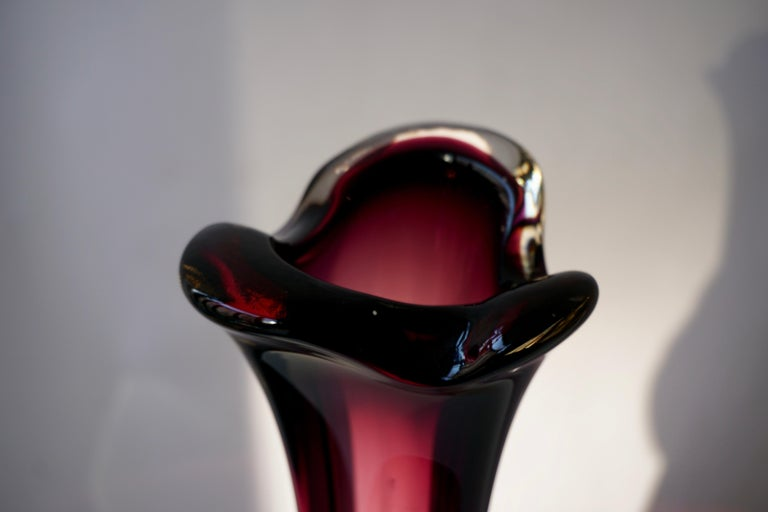 Large Purple Murano Glass Vase In Good Condition For Sale In Antwerp, BE