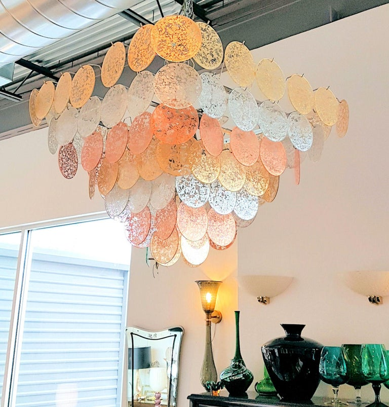 Hand-Crafted Large Pyramidal Murano Disc Chandelier by Vistosi, Mid-Century Modern, 1970s For Sale