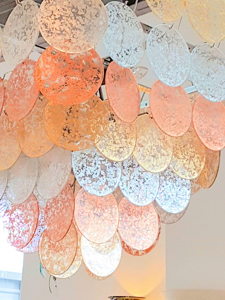Murano Glass Large Pyramidal Murano Disc Chandelier by Vistosi, Mid-Century Modern, 1970s For Sale