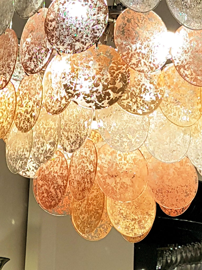 Large Pyramidal Murano Disc Chandelier by Vistosi, Mid-Century Modern, 1970s For Sale 1