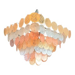 Large Pyramidal Murano Disc Chandelier by Vistosi, Mid-Century Modern, 1970s