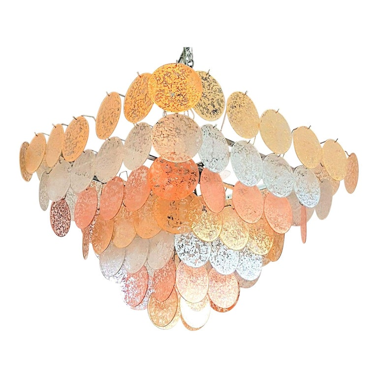 Large Pyramidal Murano Disc Chandelier by Vistosi, Mid-Century Modern, 1970s For Sale